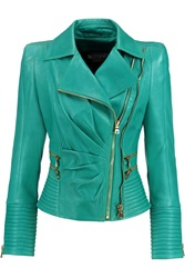 Balmain Pleated Leather Biker Jacket