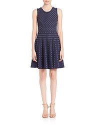 Milly Dot Fit And Flare Dress Ivory