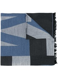 Jimmy Choo Jude Colour Block Scarf Blue