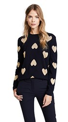 Chinti And Parker Metallic Knit Heart Sweater Navy Gold Lurex