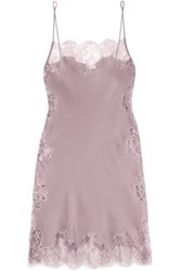 Carine Gilson Chantilly Lace Trimmed Silk Satin Chemise Lilac