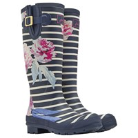 Joules Tall Printed Bloom Stripe Rubber Wellington Boots Navy