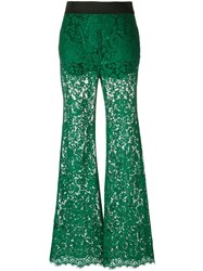 Dolce And Gabbana Flared Lace Trousers Green