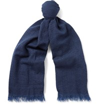 Begg And Co Kishorn Washed Cashmere Scarf Navy