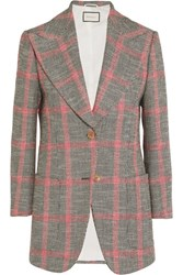 Gucci Appliqued Checked Wool Blend Tweed Blazer Mushroom
