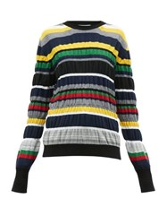 J.W.Anderson Jw Anderson Ruched Stripe Wool Blend Sweater Multi