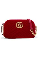 Gucci Gg Marmont Small Quilted Velvet Shoulder Bag Red