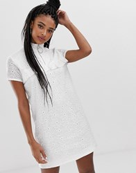 Daisy Street Shift Dress With Ring Pull And Ruffle Detail In Broderie White