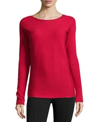 Neiman Marcus Long Sleeve Ribbed Tee Rose