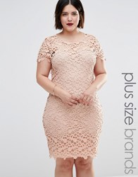Club L Plus Midi Dress In Floral Crochet Nude Beige