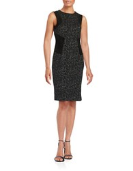 Calvin Klein Textured Knit And Faux Suede Dress Black Cream