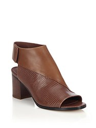 Vince Julianna Smooth Leather And Lizard Embossed Leather Mules Black