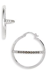 Judith Jack Women's Silver Sparkle Hoop Earrings Black Diamond Marcasite