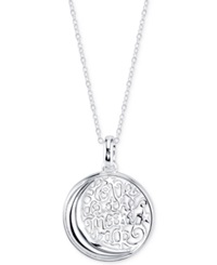 Unwritten Moon And Back Disc Pendant Necklace In Sterling Silver