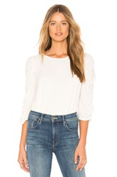 1.State Long Sleeve Ruched Sleeve Blouse White