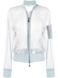 Red Valentino Point D'esprit Tulle Bomber Jacket Blue