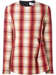 Msgm Gathered Plaid Blouse