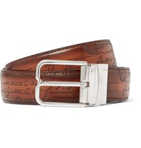 Berluti 3.2Cm Scritto Reversible Leather Belt Brown