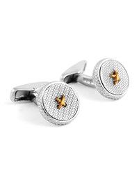 Ermenegildo Zegna Herringbone Button Cuff Links W Golden Thread Silver