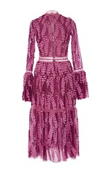 Costarellos Tulle Lace Bell Sleeve Dress Pink