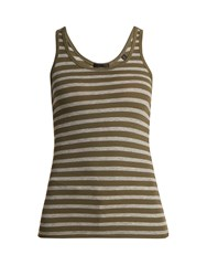Atm Anthony Thomas Melillo Striped Ribbed Jersey Tank Top Dark Green Multi