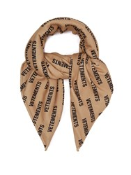 Vetements Logo Print Fleece Scarf Beige