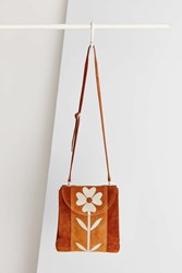 Ecote Floral Applique Crossbody Bag Brown