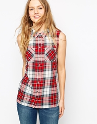 Only Sleeveless Plaid Shirt With Front Pockets Clouddancerriored
