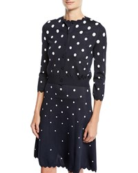 Oscar De La Renta Polka Dot Knit Short Cardigan Blue White