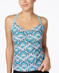 Go By Gossip Printed Tankini Top Women's Swimsuit Teal Black