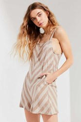Urban Outfitters Uo High Neck Striped Romper Beige