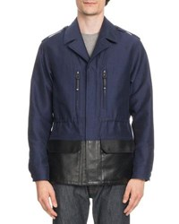 Berluti Cotton Field Jacket With Coated Trim Blue