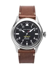 Jack Mason Aviation Stainless Steel And Italian Leather Automatic Strap Watch Silver