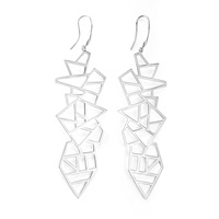 Ona Chan Long Multi Lattice Drop Earrings Silver