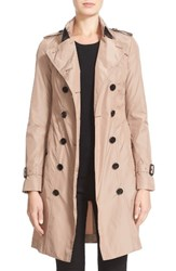Burberry Women's London Sandringham Long Slim Trench Coat Nude