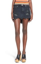 Women's One Teaspoon Distressed Miniskirt Black Panther