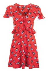 Topshop Tall Red Spot Floral Tea Dress Red