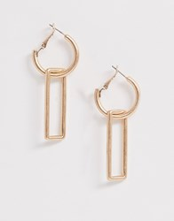 French Connection Interlinked Drop Earrings Gold