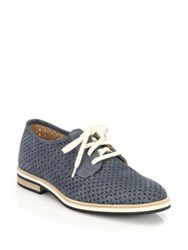 Aquatalia By Marvin K Zola Perforated Suede Oxfords Navy Black