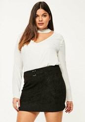 Missguided Plus Size Black Faux Suede Bull Ring Mini Skirt
