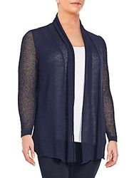 Lafayette 148 New York Linen Blend Mixed Knit Cardigan Ink