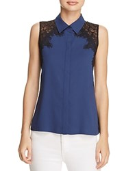 Cooper And Ella Vera Lace Cutout Shirt Navy