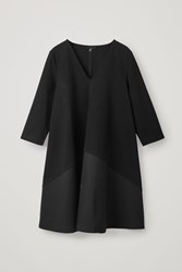Cos Jersey Dress With Woven Panel Black