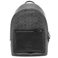 Coach Signature Print Leather Backpack Grey