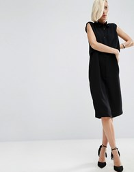 Asos White Double Layer Crepe Midi Shirt Dress Black