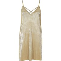 River Island Womens Gold Pleated Cami Swing Dress