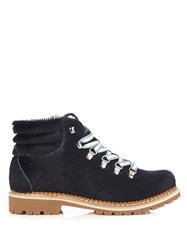 Montelliana Margherita Calf Hair Apres Ski Boots Navy