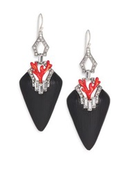Alexis Bittar Coral Deco Lucite Crystal And Enamel Baguette Drop Earrings Black Silver Black