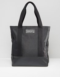Heist Tote Nylon Bag With Leather Look Trims Black