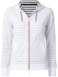 Loveless Striped Zip Fleece Hoodie White